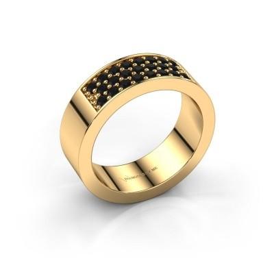 Ring Lindsey 5 375 gold black diamond 0.552 crt