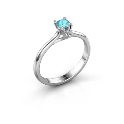 Verlovingsring Isa 1 950 platina blauw topaas 4 mm