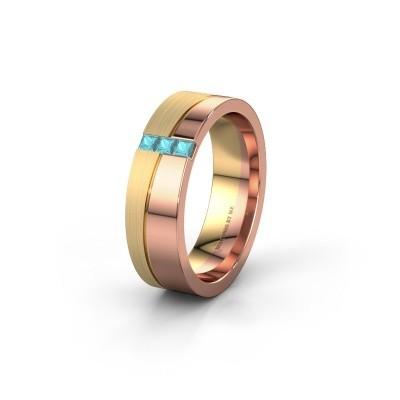 Wedding ring WH0906L16A 585 rose gold blue topaz ±6x1.7 mm