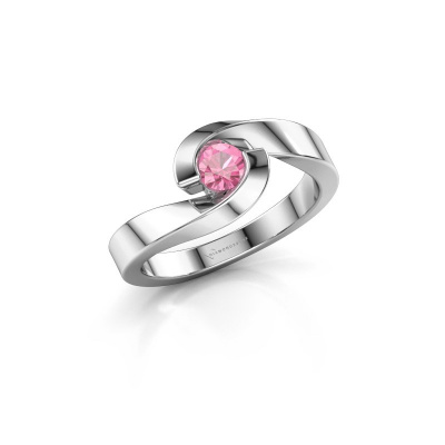 Foto van Ring Sheryl 585 witgoud roze saffier 4 mm