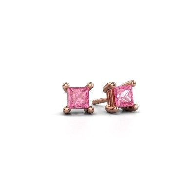 Picture of Stud earrings Sam square 375 rose gold pink sapphire 4 mm