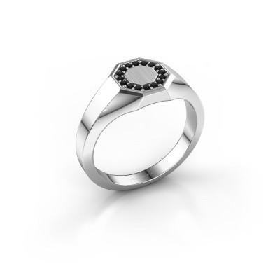 Pinkring Floris Octa 1 925 zilver zwarte diamant 0.144 crt