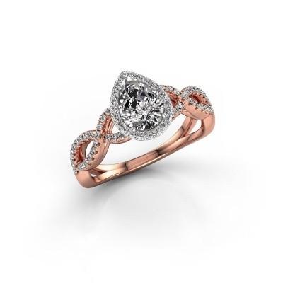Verlovingsring Dionne pear 585 rosé goud zirkonia 7x5 mm