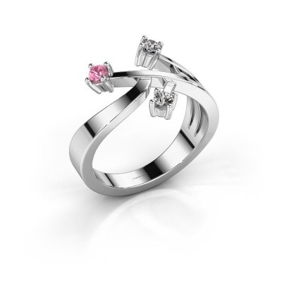 Ring Lillian 585 witgoud roze saffier 2.5 mm