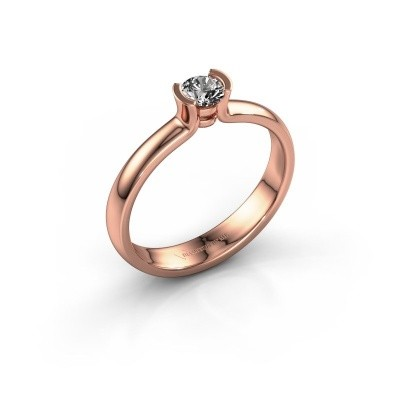 Engagement ring Ophelia 375 rose gold zirconia 4 mm
