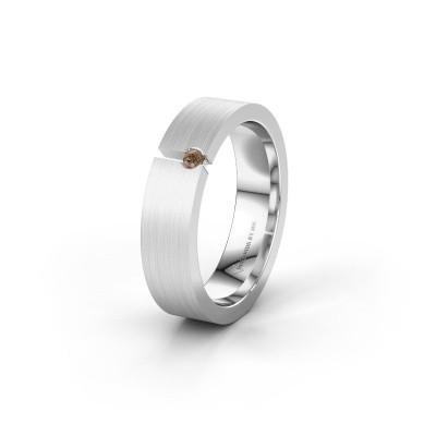 Bild von Ehering WH0120L15BM 585 Weißgold Braun Diamant ±5x2 mm
