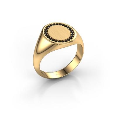 Foto van Heren ring Floris Oval 3 585 goud zwarte diamant 0.243 crt