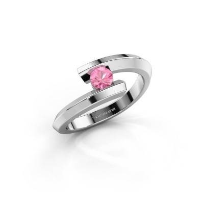 Ring Paulette 925 silver pink sapphire 3.4 mm
