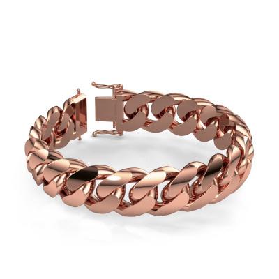 Cuban link armband ±17 mm 375 rosé goud
