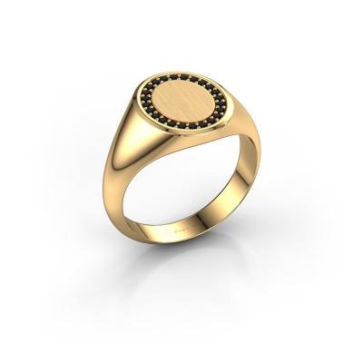 Foto van Zegelring Rosy Oval 2 375 goud zwarte diamant 0.009 crt