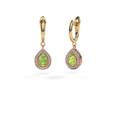Picture of Drop earrings Ginger 1 585 rose gold peridot 7x5 mm