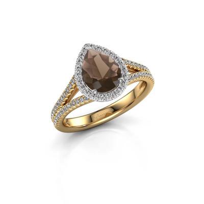 Verlovingsring Verla pear 2 585 goud rookkwarts 8x6 mm