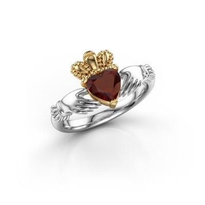 Bild von Ring Claddagh 2 585 Weißgold Granat 6 mm
