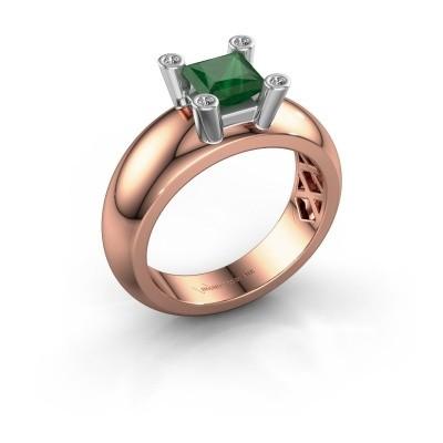 Ring Cornelia Square 585 Roségold Smaragd 5 mm