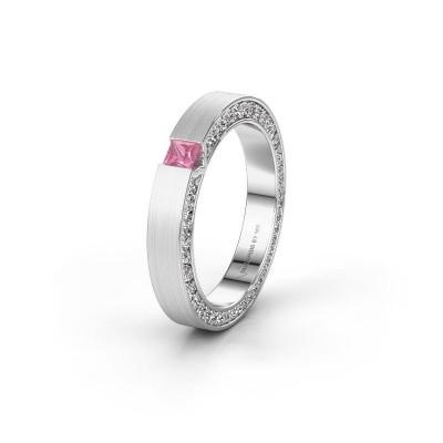 Wedding ring WH2140L14B 585 white gold pink sapphire ±3,5x2 mm