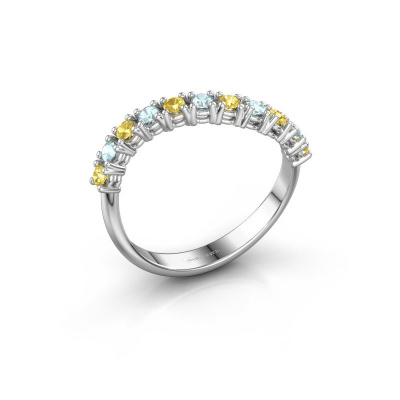 Ring Eliza 585 witgoud gele saffier 2 mm