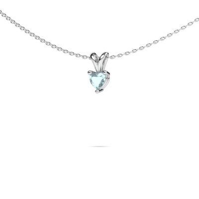 Picture of Necklace Garnet 950 platinum aquamarine 4 mm