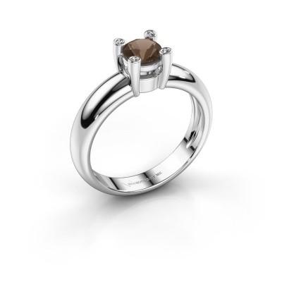 Foto van Ring Fleur 925 zilver rookkwarts 4.7 mm