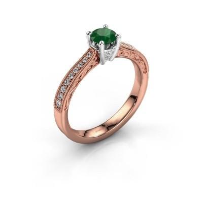 Belofte ring Shonta RND 585 rosé goud smaragd 4.7 mm