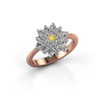 Engagement ring Vickey 2 585 rose gold yellow sapphire 2 mm