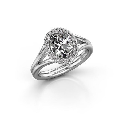 Engagement ring Rachele 1 950 platinum zirconia 8x6 mm