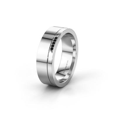 Huwelijksring WH0336L16A 585 witgoud zwarte diamant ±6x1.7 mm