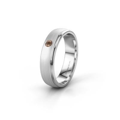 Trouwring WH0501L25AMP 925 zilver bruine diamant ±5x1.7 mm