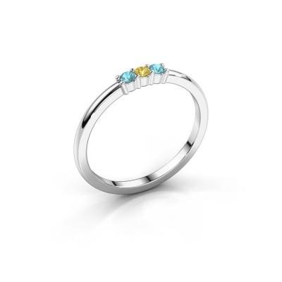 Foto van Verlovings ring Yasmin 3 585 witgoud gele saffier 2 mm