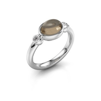 Ring Liane 925 silver smokey quartz 8x6 mm