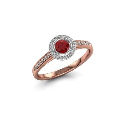 Engagement ring Noud 2 RND 585 rose gold ruby 4 mm