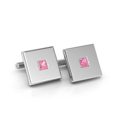 Picture of Cufflinks Givanti 925 silver pink sapphire 4 mm
