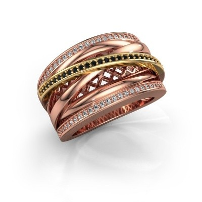 Foto van Ring Tabita 585 rosé goud zwarte diamant 0.432 crt