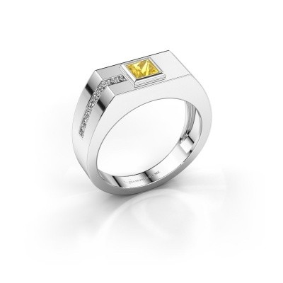 Foto van Heren ring Robertus 1 375 witgoud gele saffier 4 mm