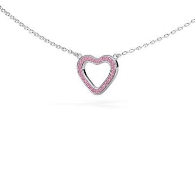 Foto van Hanger Heart 3 585 witgoud roze saffier 0.8 mm