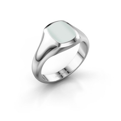 Signet ring Zelda 1 925 silver green sardonyx 10x8 mm