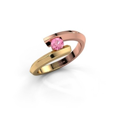 Ring Paulette 585 rosé goud roze saffier 3.4 mm