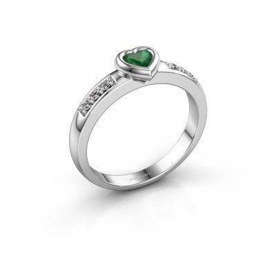 Foto van Verlovingsring Lieke Heart 585 witgoud smaragd 4 mm