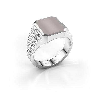 Foto van Rolex stijl ring Brent 2 585 witgoud rode lagensteen 12x10 mm