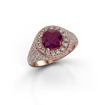 Foto van Ring Dayle 375 rosé goud rhodoliet 7 mm