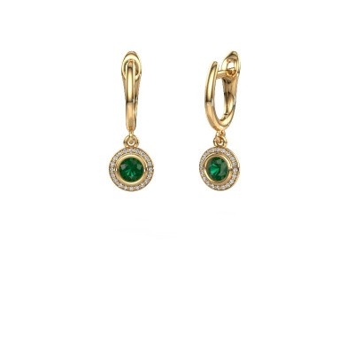 Picture of Drop earrings Noud RND 375 gold emerald 4 mm