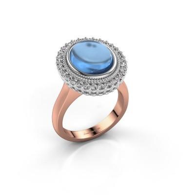 Ring Mila 585 rosé goud blauw topaas 12x10 mm