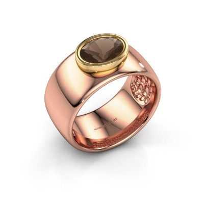Ring Anouschka 585 rose gold smokey quartz 8x6 mm
