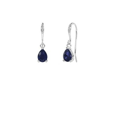 Picture of Drop earrings Laurie 2 950 platinum sapphire 7x5 mm