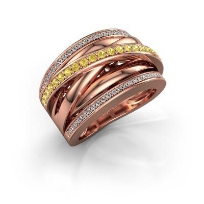 Foto van Ring Clair 2 585 rosé goud gele saffier 1.5 mm