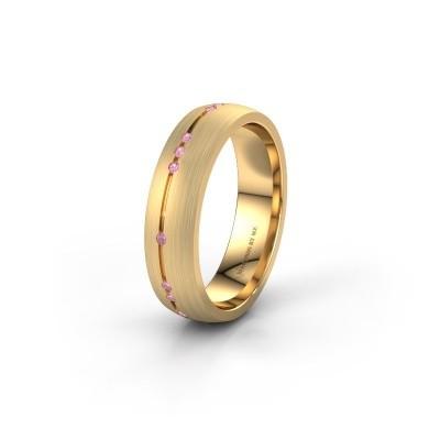 Trouwring WH0166L25A 375 goud roze saffier ±5x1.7 mm