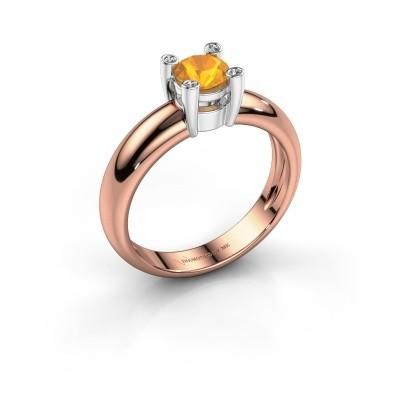 Ring Fleur 585 rosé goud citrien 4.7 mm