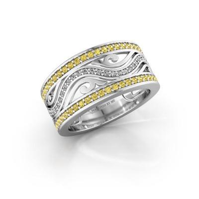 Ring Louvenia 950 platina gele saffier 1.2 mm
