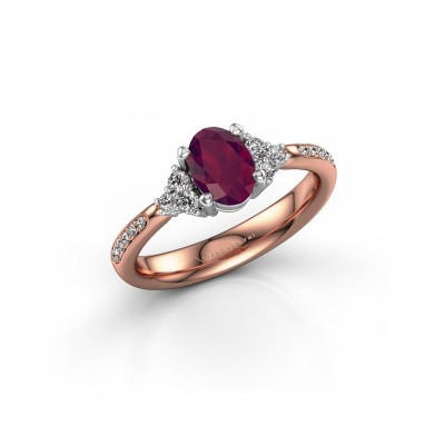 Photo de Bague de fiançailles Aleida 2 585 or rose rhodolite 7x5 mm