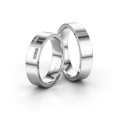 Foto van Huwelijksringen set WH1106LM15AP ±5x1.7 mm 14 karaat witgoud diamant 0.02 crt