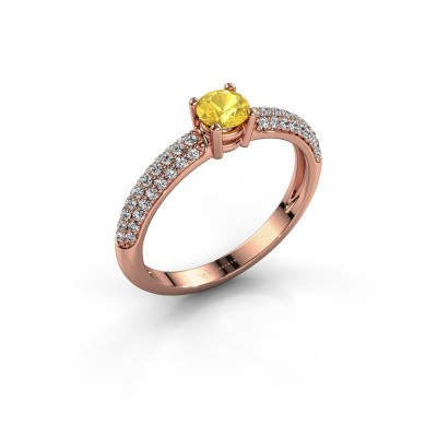 Foto van Ring Marjan 375 rosé goud gele saffier 4.2 mm